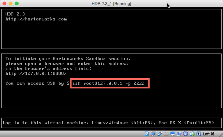 HDP VM Start-Up Window